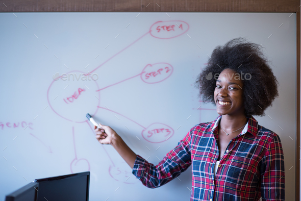 African American woman writing on a chalkboard in a modern offic - Stock Photo - Images