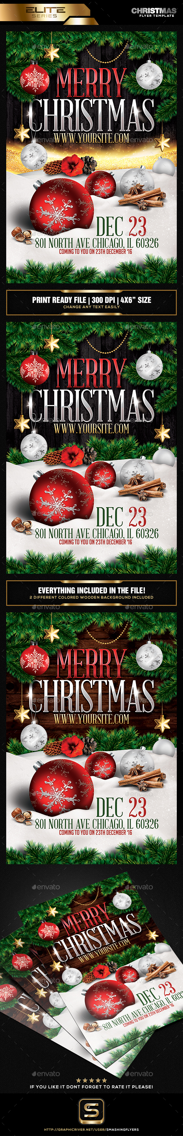 Merry Christmas Party Flyer Temaplate - Holidays Events