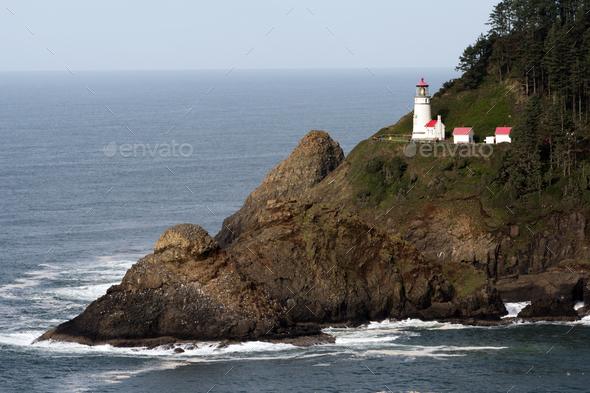 Heceta Head Oregon Coast Lighthouse Nautical Beacon USA - Stock Photo - Images