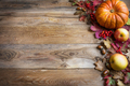 Thanksgiving or fall greeting with orange pumpkins, berries and - PhotoDune Item for Sale
