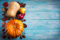 Thanksgiving  greeting with orange pumpkins and fall leaves on b - PhotoDune Item for Sale