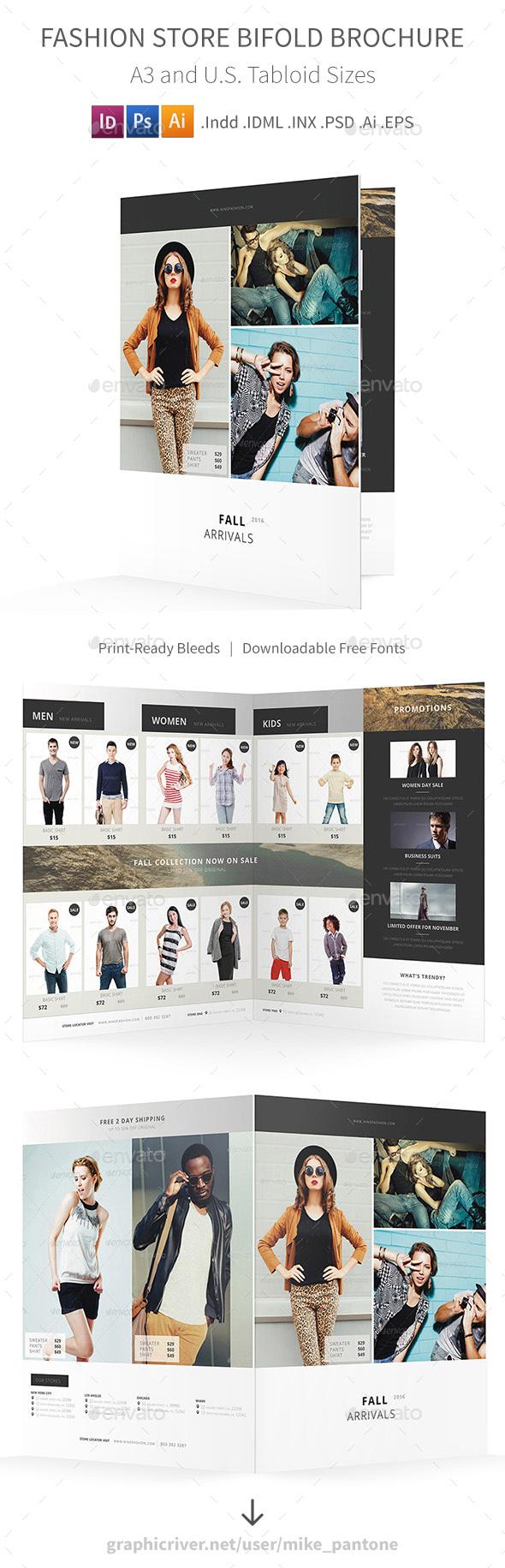 Fashion Store Bifold / Halffold Brochure - Catalogs Brochures