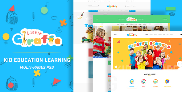 Giraffe – Kid Education Learning PSD Template