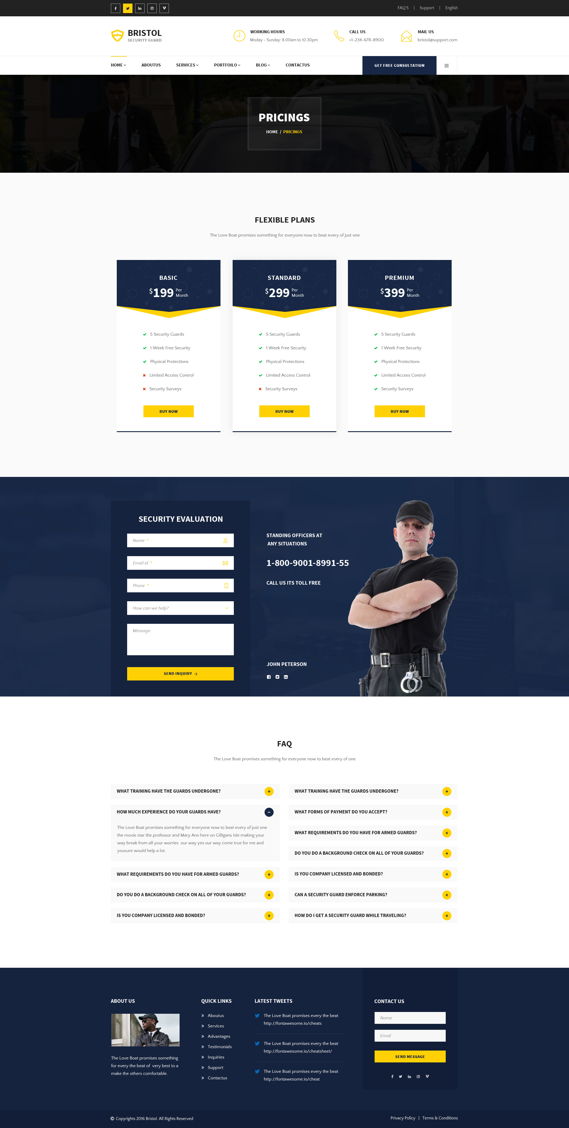 Bristol : Security Guard PSD Template