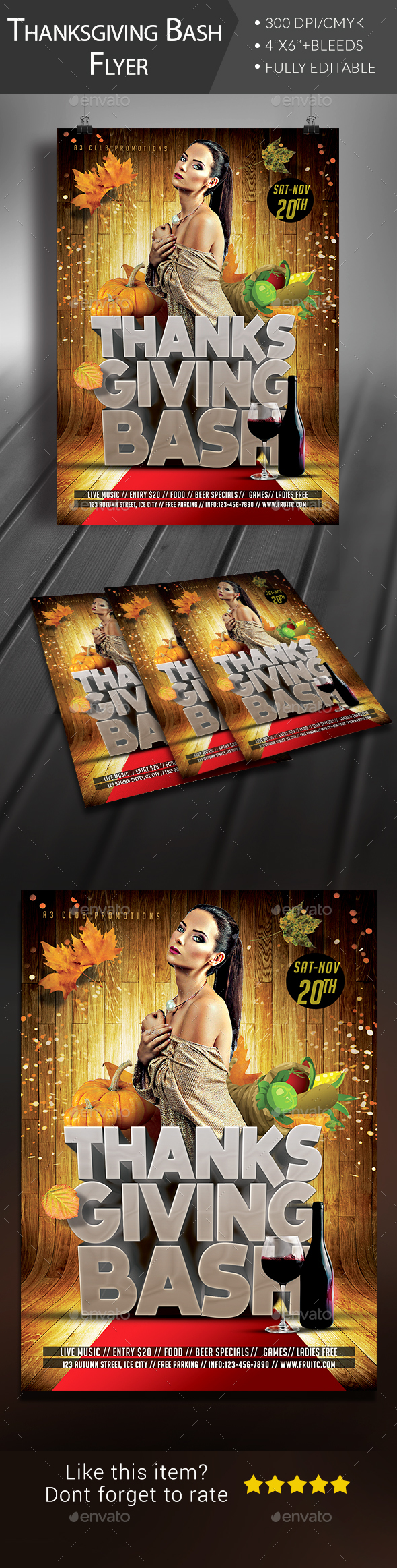 Thanksgiving Bash Flyer - Clubs & Parties Events