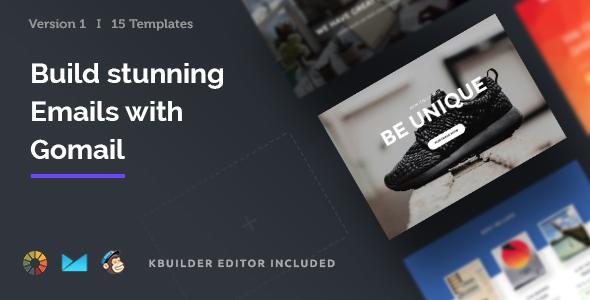 Gomail – 15 Email Templates Set + Kbuilder 1.0