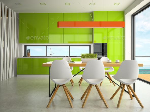 Interior of modern design kitchen 3D rendering - Stock Photo - Images