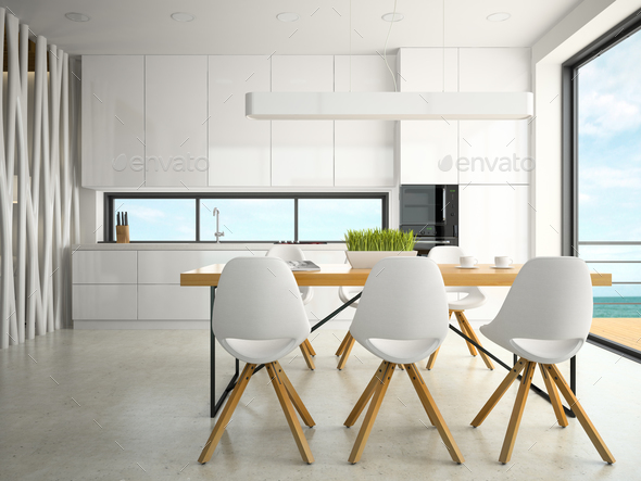 Interior of modern design kitchen 3D rendering - Stock Photo - Images