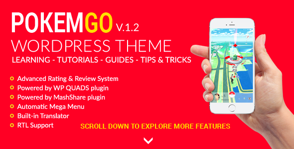 Pokemgo – WordPress Theme for tutorials, learning, guides, tips and tricks