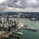 Hong Kong Aerial View Panorama With Urban Skyscrapers Boat And Sea.   - August 2016, Hong Kong - VideoHive Item for Sale