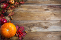 Thanksgiving  or fall greeting background with orange pumpkins a - PhotoDune Item for Sale