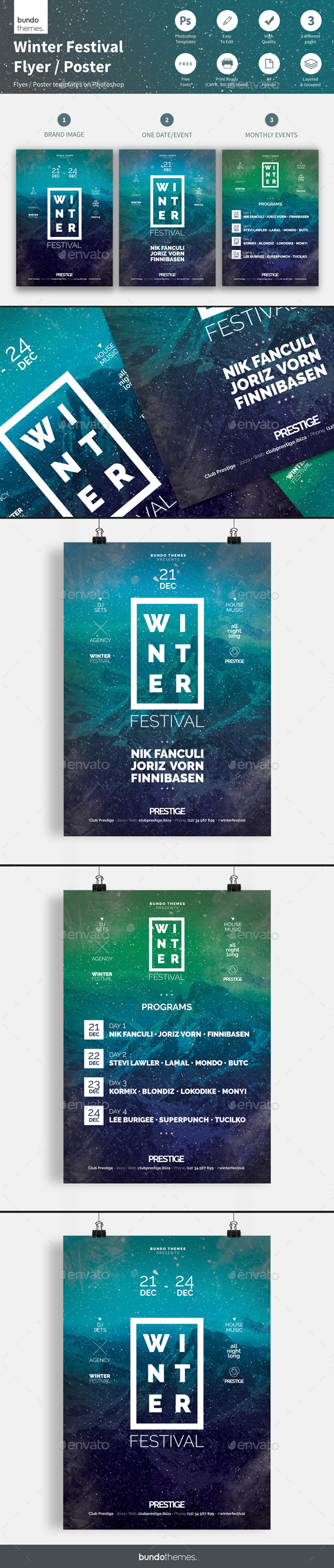Winter Festival Flyer / Poster - Concerts Events