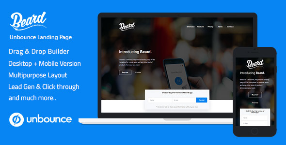Unbounce Responsive Landing Page Template - Beard