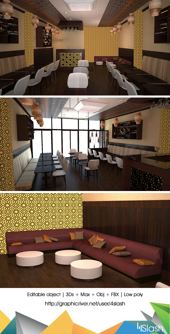 3d Resturant Interior - 3DOcean Item for Sale