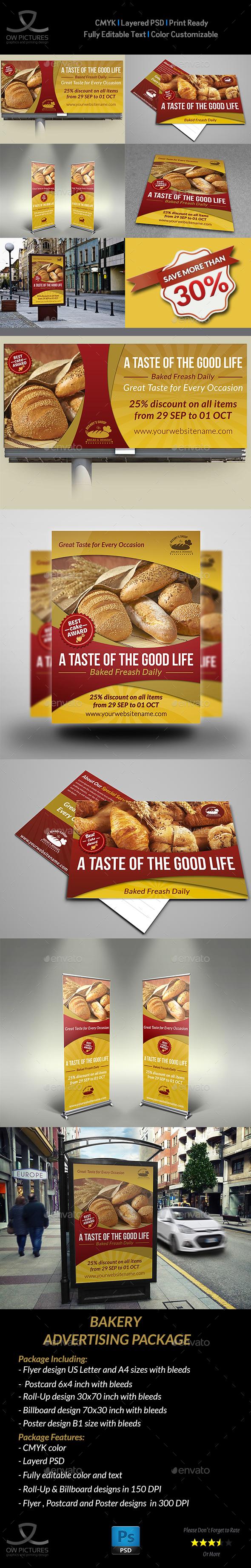 Bakery Advertising Bundle - Signage Print Templates