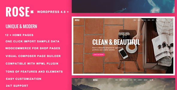Rose – Responsive Multi-Purpose WordPress Theme