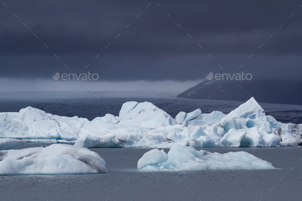 Cloudy glacier edge in Iceland - Stock Photo - Images