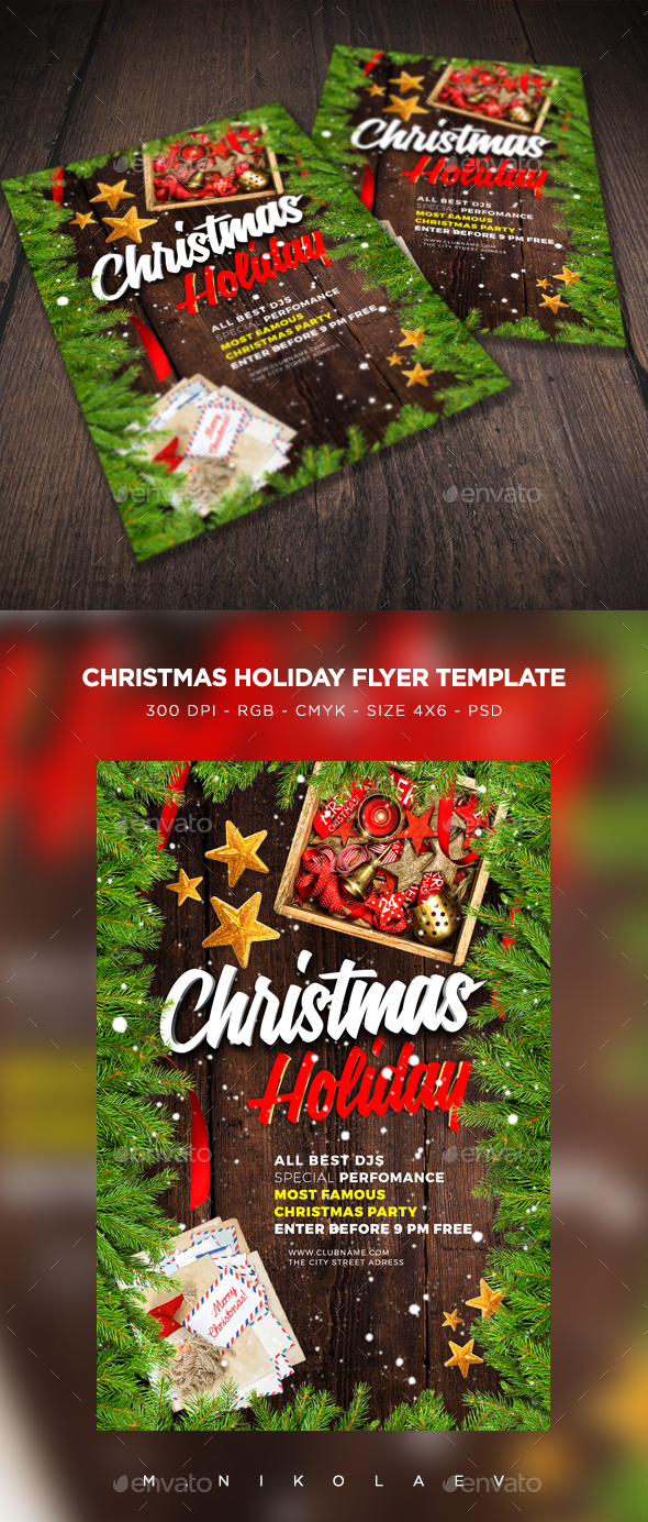 Christmas Holiday Flyer - Clubs & Parties Events