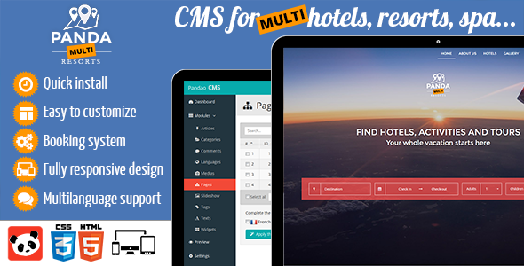 Panda Multi Resorts 4 - Booking CMS for Multi Hotels - CodeCanyon Item for Sale