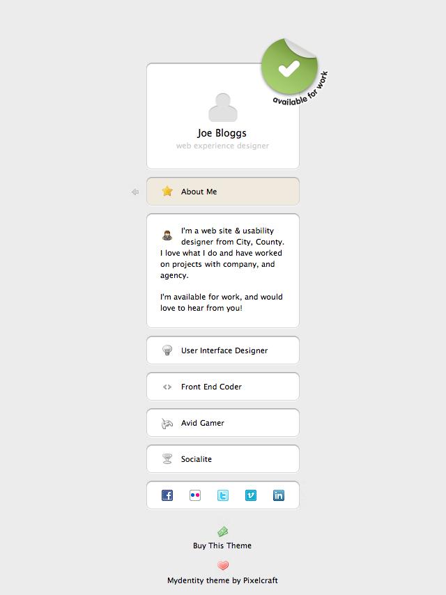 Free Download Mydentity - Personal Portfolio Mini Site Nulled Latest Version