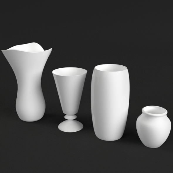 4 Vases Set - 3DOcean Item for Sale