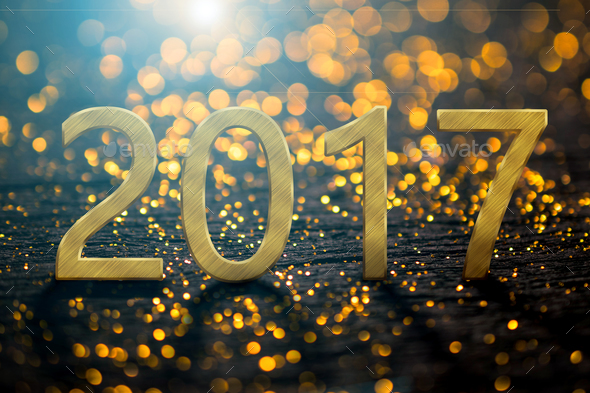 2017 Happy New Year background with gold light background - Stock Photo - Images