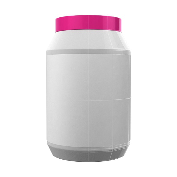 White Protein Bottle with Pink Cap - 3DOcean Item for Sale