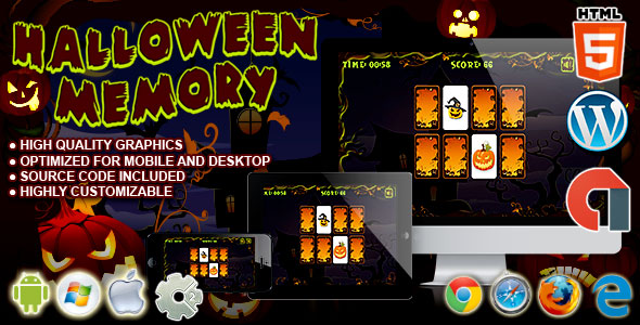 Halloween Memory - HTML5 Construct Game - CodeCanyon Item for Sale