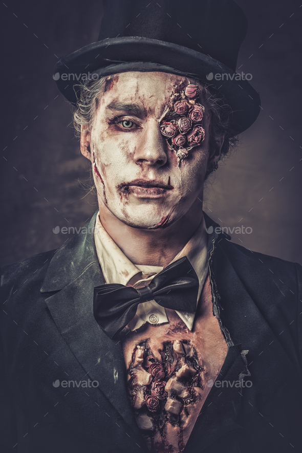 Dressed in wedding clothes romantic zombie man. - Stock Photo - Images
