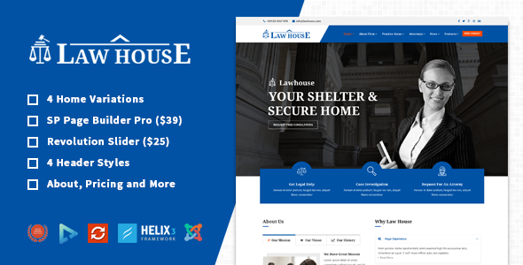 LawHouse – Responsive Lawyers Attorneys Joomla Template