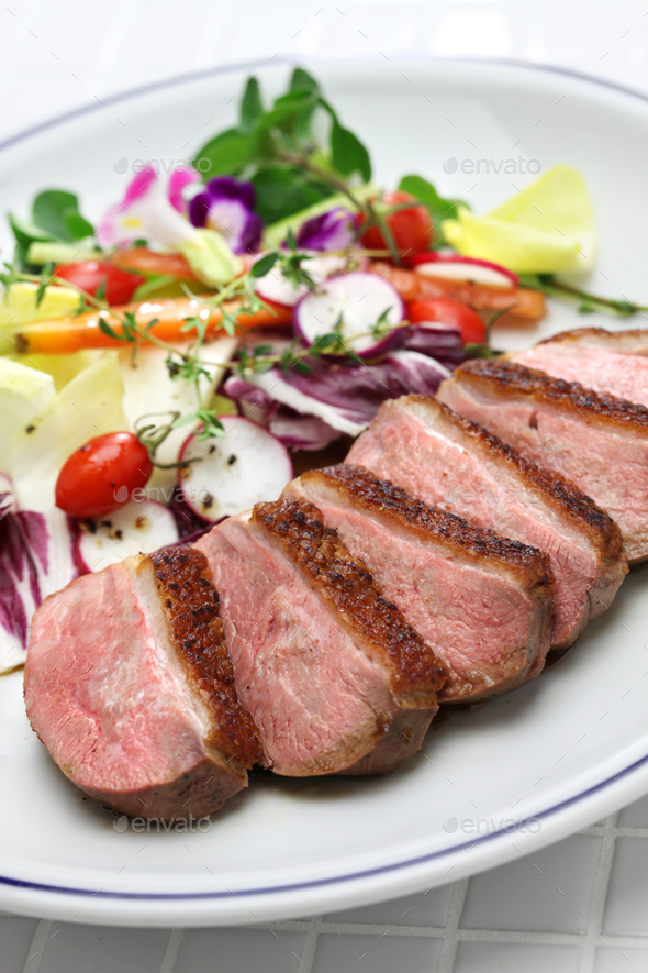 roast duck breast with vegetables - Stock Photo - Images
