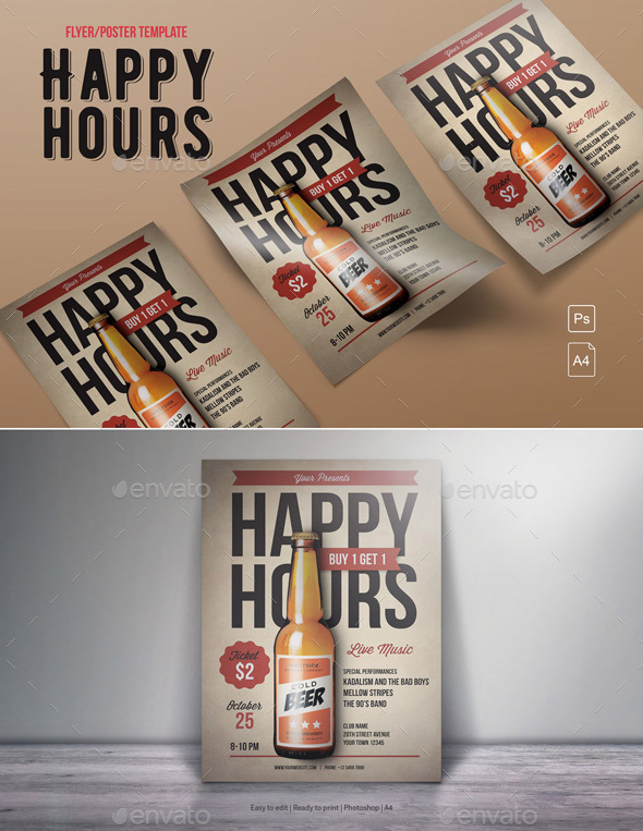 Happy Hours Flyer - Clubs & Parties Events