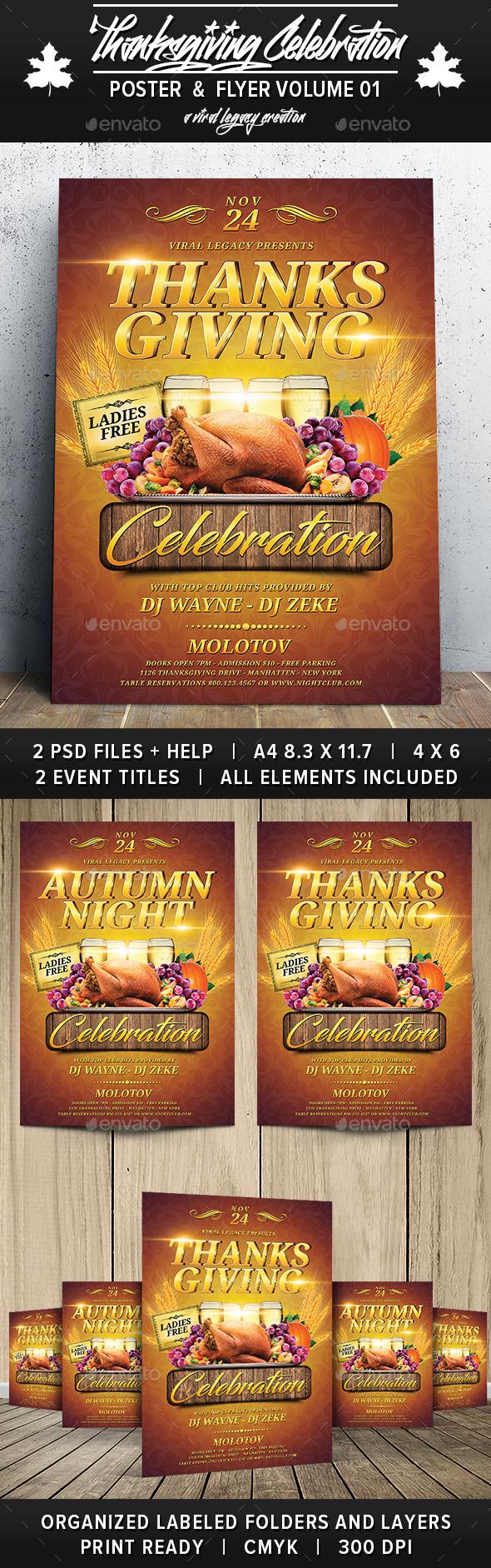 Thanksgiving Celebration V01 - Flyers Print Templates