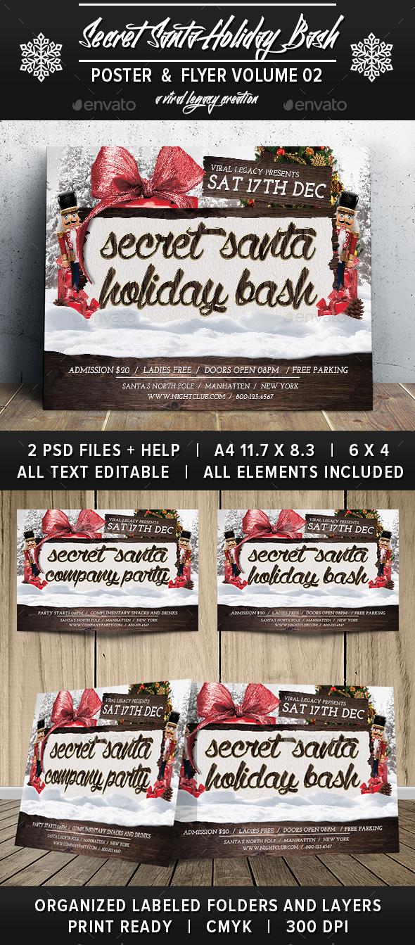 Secret Santa Holiday Bash V02 - Events Flyers