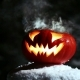 Halloween Pumpkins In The Winter Snowy Night With Overflying Ghost. Looped. - VideoHive Item for Sale