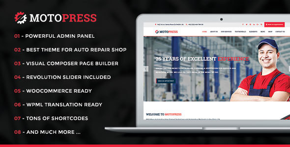 MotoPress – Auto Repair & Mechanic Shop WordPress Theme