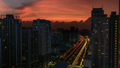 Bangkok cityscape with flame-coloured sky, Thailand - PhotoDune Item for Sale