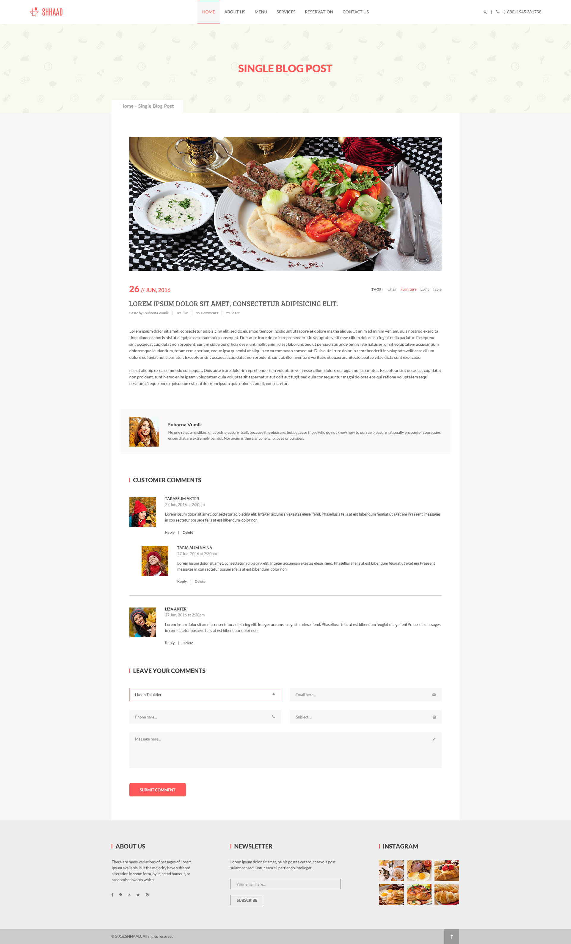 Shhaad One Page Restaurant PSD Template