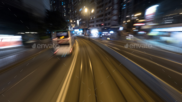 Traveling by tram in night Hong Kong - Stock Photo - Images