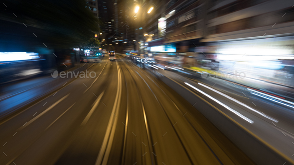 View to night Hong Kong from moving double-decker tram - Stock Photo - Images
