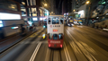 Double-decker tram and buses in night Hong Kong - PhotoDune Item for Sale