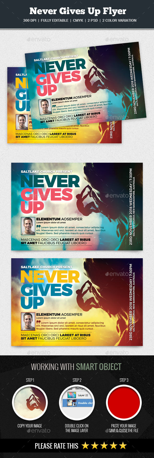 Never Gives Up Flyer - Church Flyers