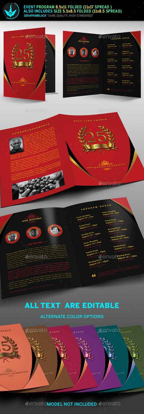 Crimson Gold plus Black Anniversary Program Template - Informational Brochures