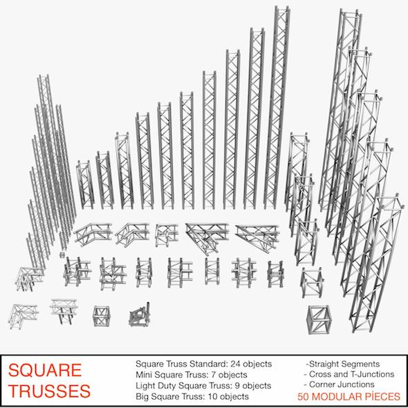 Square Trusses 001 - 3DOcean Item for Sale