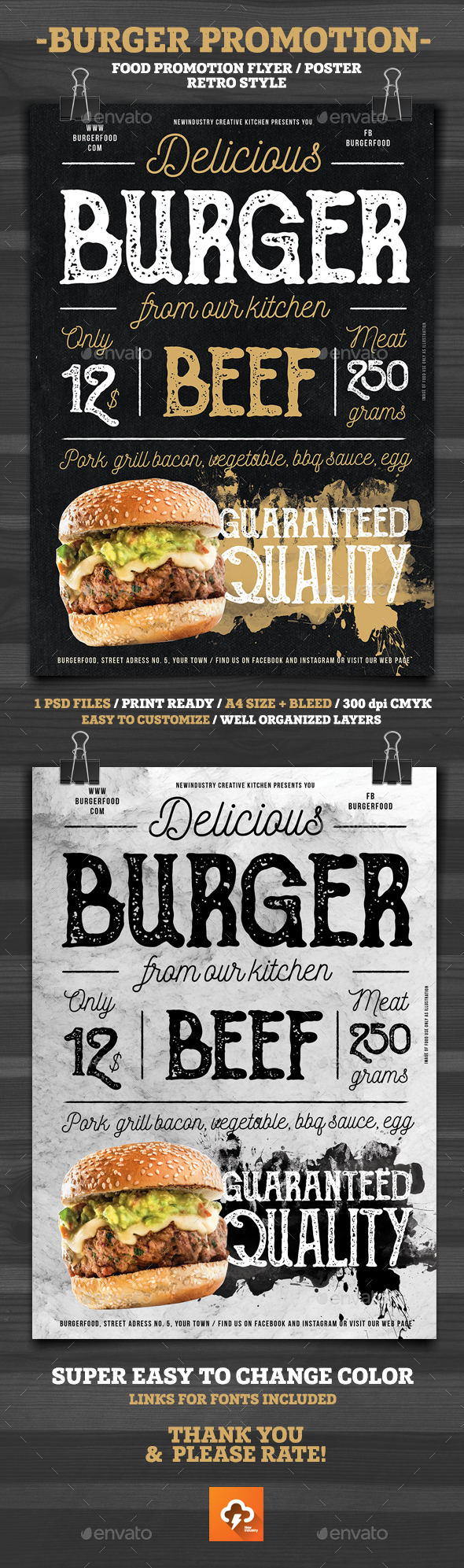 Burger Promotion Flyer Poster - Restaurant Flyers