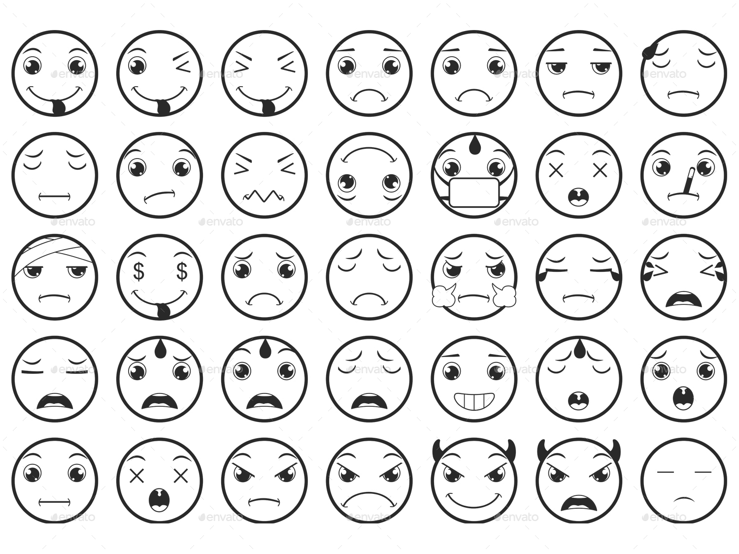 Line Drawing Emoji : Line emoticons emoji vector set by land art graphicriver