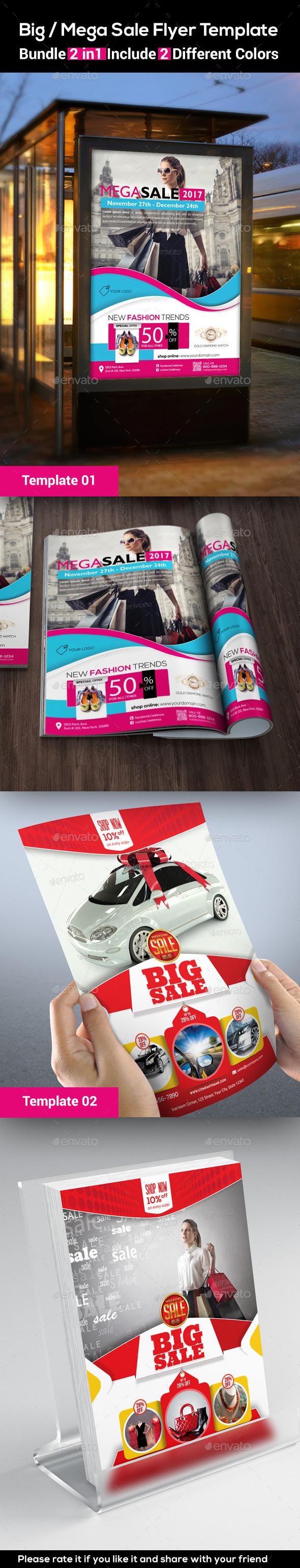 Big / Mega Sale Flyer Template (Bundle 2 in 1) - Flyers Print Templates