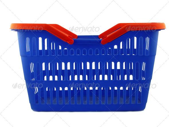 blue shopping basket - Stock Photo - Images