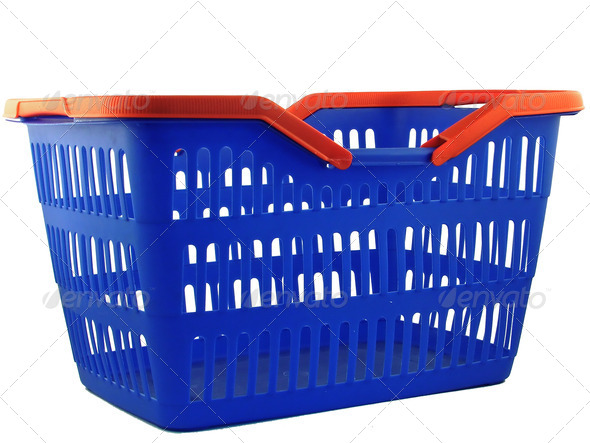 blue shopping basket - Stock Photo - Images