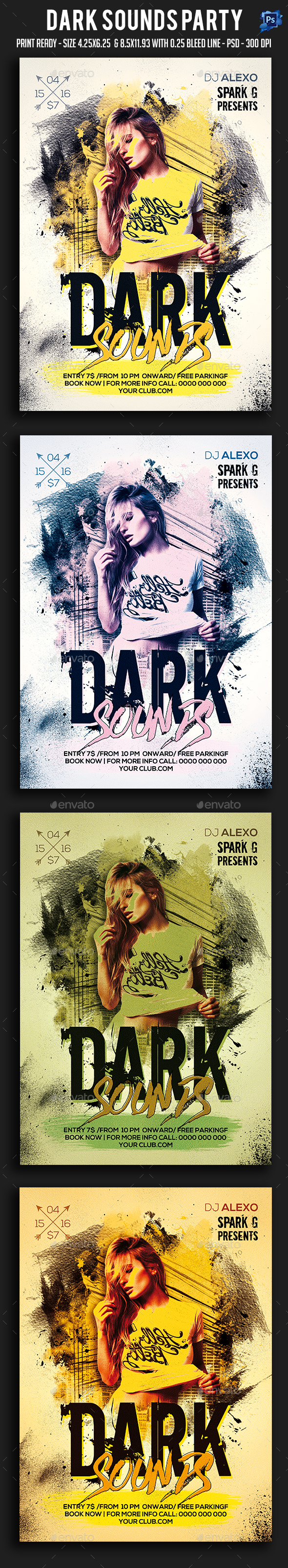 Dark Sounds Party Flyer - Clubs & Parties Events
